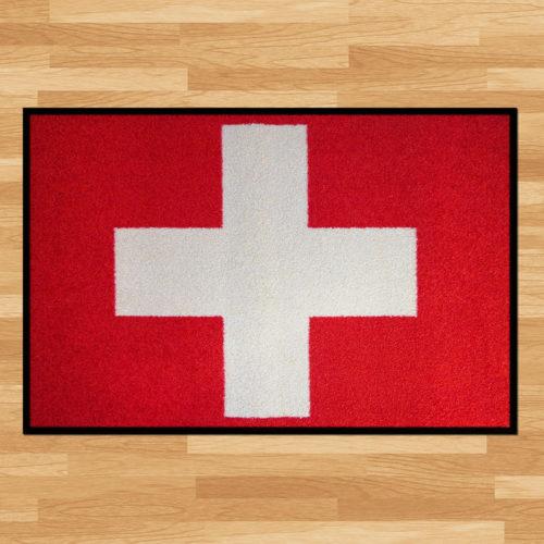 Waschbare Fussmatte «Schweizerkreuz»